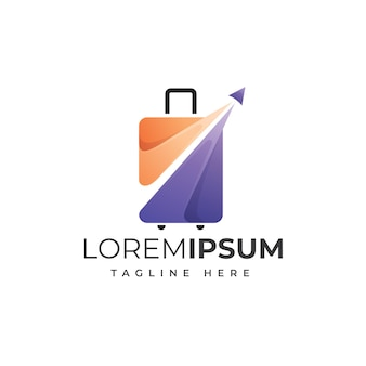 Чемодан путешествия дизайн шаблона логотипа