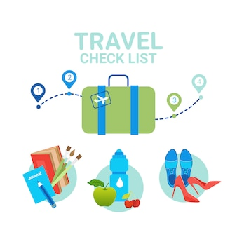 Suitcase with clothes elements. travel packing check list concept