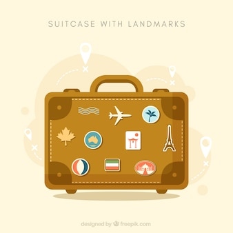 Suitcase with landmarks background in flat style