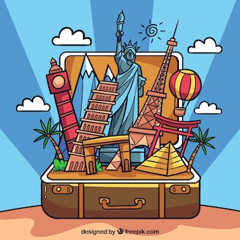 Suitcase with landmarks background in hand drawn style