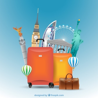 Suitcase with landmarks background in realistic style
