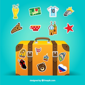 Suitcase with landmarks of different places