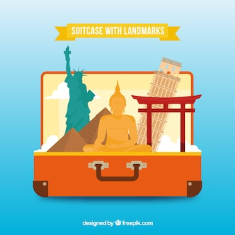 Suitcase with landmarks in hand drawn style