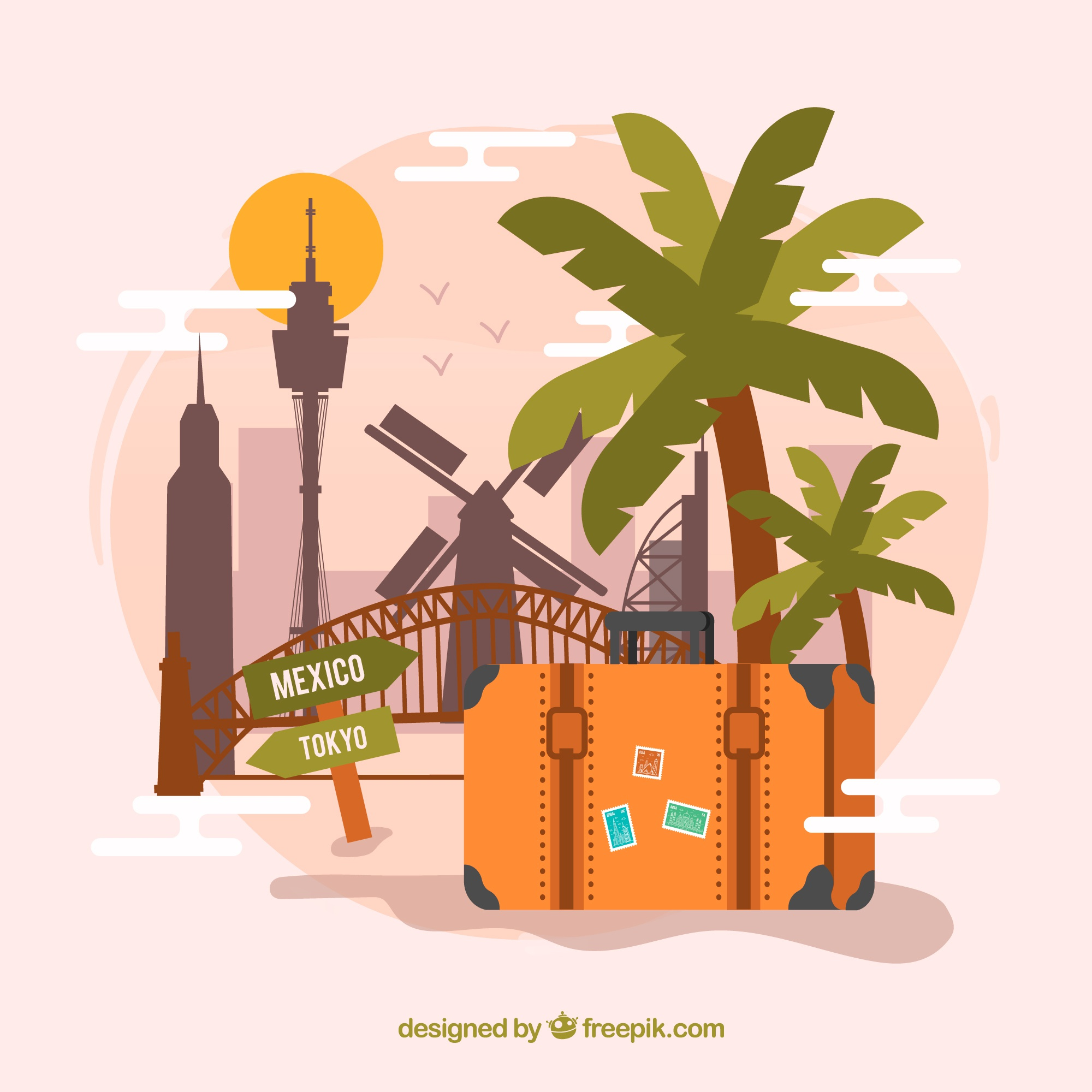 Suitcase with landmarks in flat style