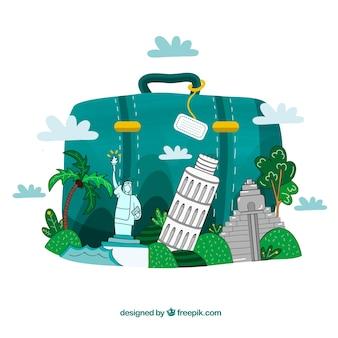 랜드 마크와 손으로 그린 스타일 가방