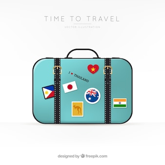 Suitcase with landmarks in realistic style