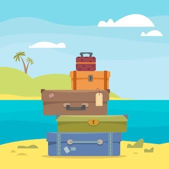 Чемоданы и сумки на фоне морского пейзажа и пальм
