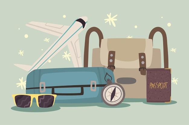 Чемоданы и значки набора bon voyage