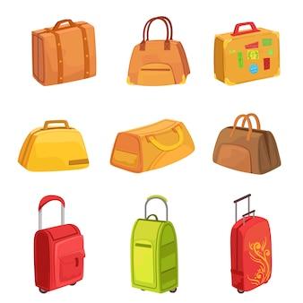 アイコンのスーツケースやその他の荷物バッグセット