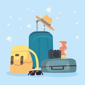 Чемоданы и путешествия набор иконок
