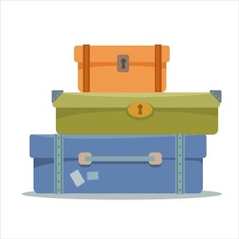 Чемоданы сложены друг на друга. символ путешествия и багажа. векторная иллюстрация.