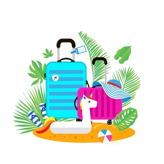 Suitcases on the beach travel bag with hat on the sunny beach giant inflatable white unicorn flipflop ball and palm leaves summer holidays sunny days holidays time to travel weekend flat