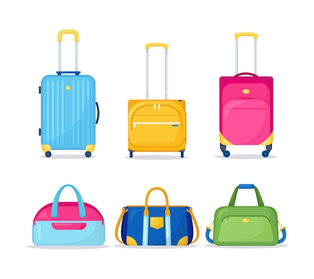 Suitcases luggages for travel isolated on white