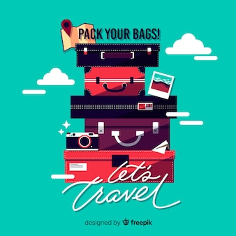 Suitcases pile travel background