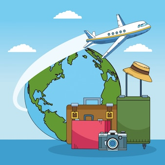 Suitcases and world travel design