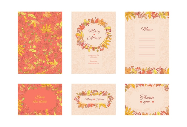 Suite wedding invitation card. set frame cards with autumn leaves and berries. collection decorative design concept in pastel and bright colours. invite to an anniversary or birthday.