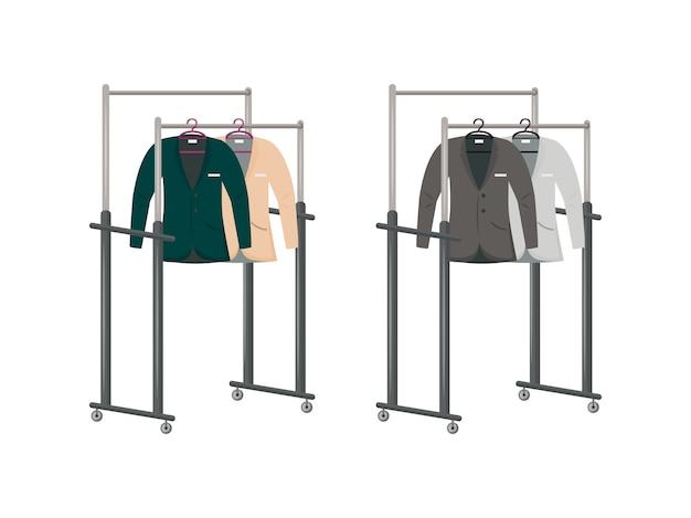 ハンガーフラットカラーオブジェクトセットのスーツ。男性の衣服の展示。男性服の孤立した漫画と産業用ワードローブ