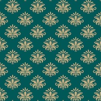 スルタン東部のシームレスなパターン、ベクトル東部の花の背景