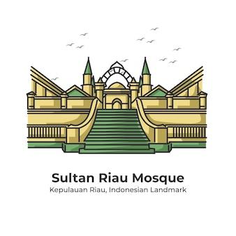 Sultan riau mosque indonesian landmark cute line illustration