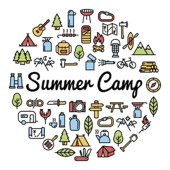 Sumer camp elements background