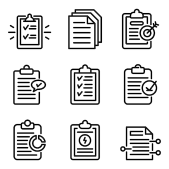 Summary icons set, outline style