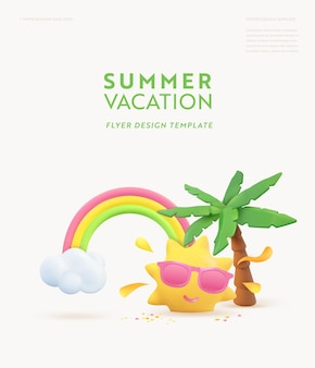 Summer 3d banner design. realistic render scene tropical palm tree, sun, rainbow, cloud. tropic beach objects, holiday web poster, flyer, seasonal brochure, cover.  summertime modern background