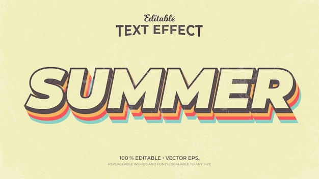 Summer 3d style editable text effects