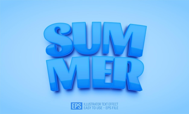 여름 3d 텍스트 편집 가능한 스타일 효과 템플릿