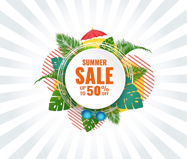 Summer abstract sale banner up to 50 % off. seasonal design.