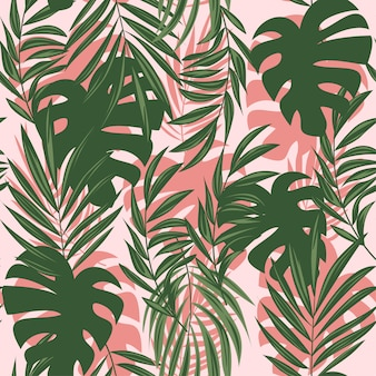 Summer abstract seamless pattern with colorful tropical leaves and plants on a delicate background
