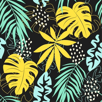 Summer abstract seamless pattern with colorful tropical leaves and plants on a gray background