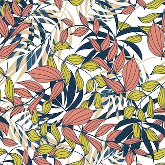 Summer abstract seamless pattern with colorful tropical leaves and plants on white
