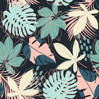 Summer abstract seamless pattern with colorful tropical leaves