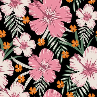 Summer abstract seamless pattern with tropical leaves