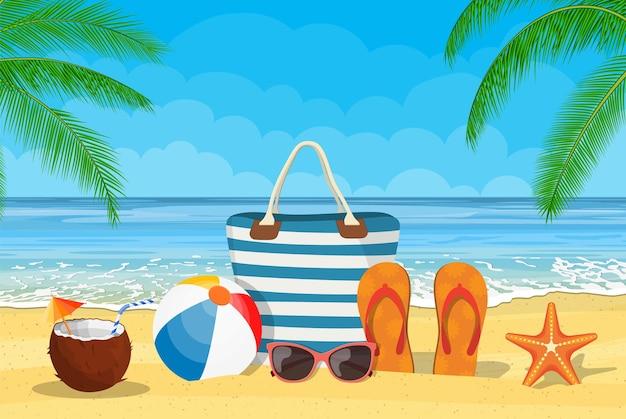 ビーチの夏のアクセサリー。