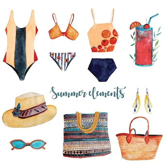 Summer accessories watercolor elements