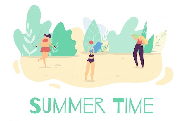 Лето активное время на улице плоский мультфильм баннер