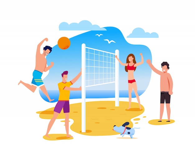 Summer activities and sport on beach
