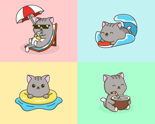 Летняя активность кошка мультфильм