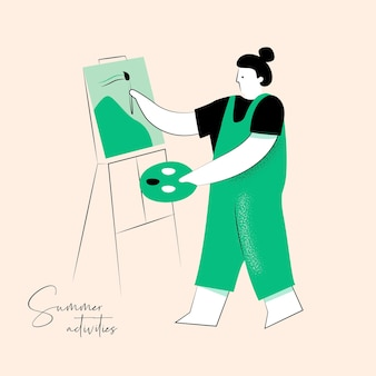 Summer activity vector illustration of artist for brand identity or web design