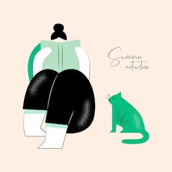 Летняя активность векторная иллюстрация женщины с кошкой для фирменного стиля или веб-дизайна