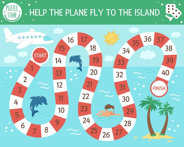 Summer adventure board game for children with airplane