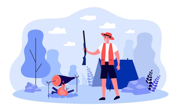 Summer adventure of hunter in hunting forest camp. man holding gun, cooking food on fire flat vector illustration. outdoor extreme hunting sport concept for banner, website design or landing web page