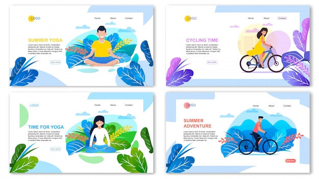 Summer adventure and outdoors recreation landing page set.