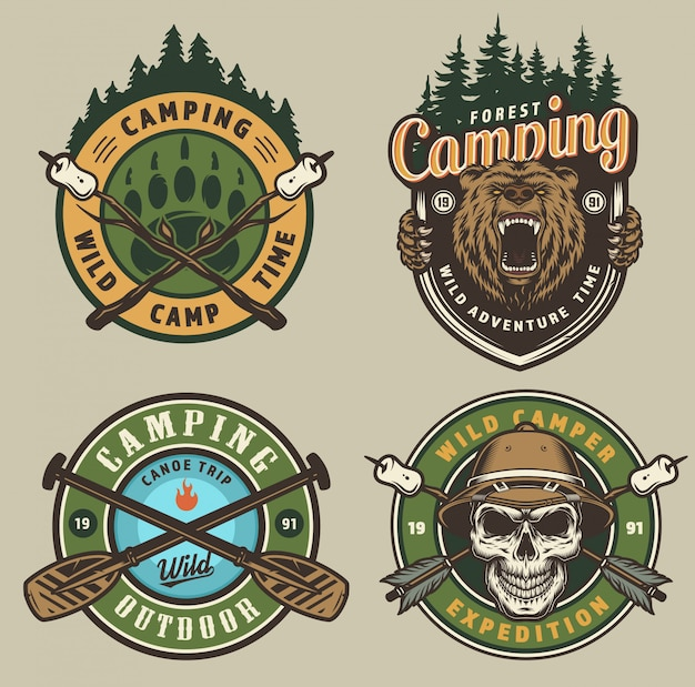 Summer adventure vintage emblems
