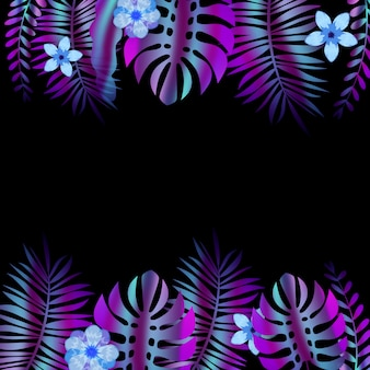 Summer advertising template promotional sale floral banner with trend holographic tropical plant leaves background.