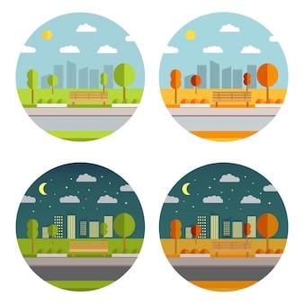 Летний и осенний городской сад со скамейкой и деревьями. городской парк с градостроительством. здания небоскребов с окнами.
