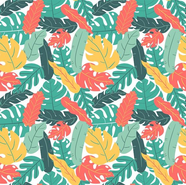 Лето и осень цвет тропических листьев рука рисунок рисунок бесшовные
