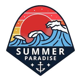 Летний и праздничный пляжный значок монолинии, иллюстрация логотипа