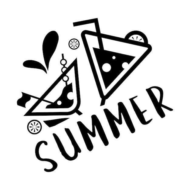 여름 및 휴일 타이포그래피 일러스트